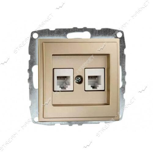 MONO ELECTRIC 500-001705-131 L/D МЕХАНИЗМ Розетка двойная телеф. цифр. (RJ11 САТ3А) крем