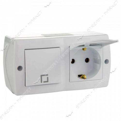 MONO ELECTRIC OCTANS 104-010101-183 (накладня серия) Выключатель розетка с заземл. и крышкой белая