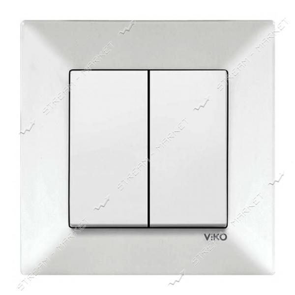 Выключатель двухклавишный VIKO 0002 MERIDIAN белый