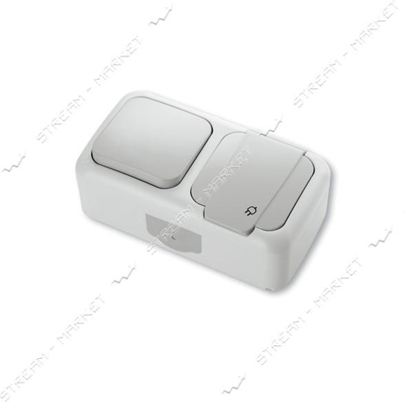 Блок выключатель/розетка с заземлением VIKO 5581 PALMIYE WATER PROOF серый