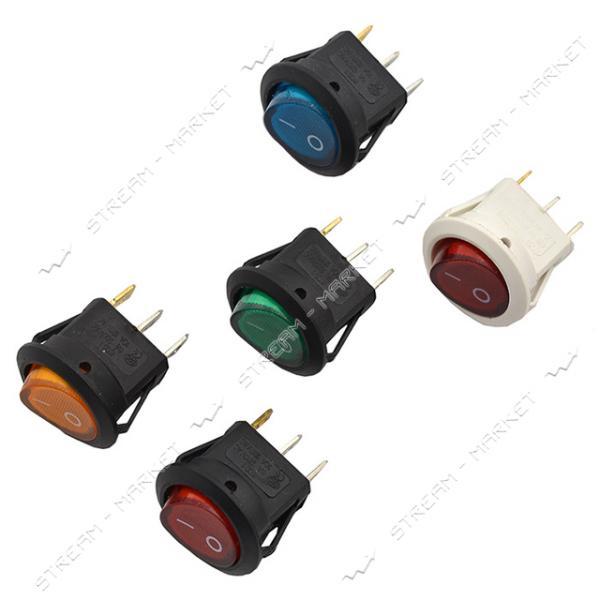 Кнопка 'Вкл/Выкл' клавиша круглая (корпус прямоуг.) 3 контакта 2 положения с подсветкой (кп-16и)
