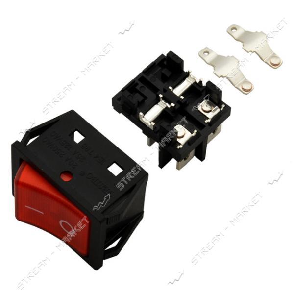 Кнопка 'Вкл/Выкл' клавиша широкая 4 контакта 2 положения 30А без подсветки