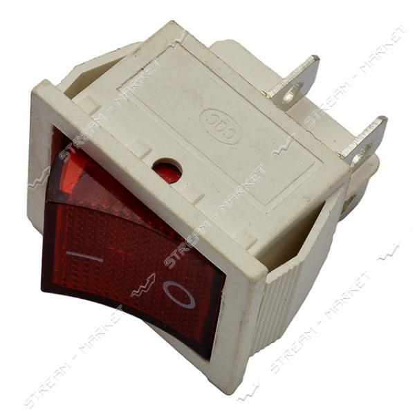 Кнопка белая 'Вкл/Выкл' клавиша широкая 4 контакта 2 положения с подсветкой, красная (кп-2и)