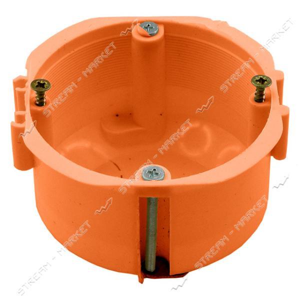 Коробка монтажная 60*40 в гипс (оранжевая) стыковочная железная. ножка ( КРАТНО 50 шт.)