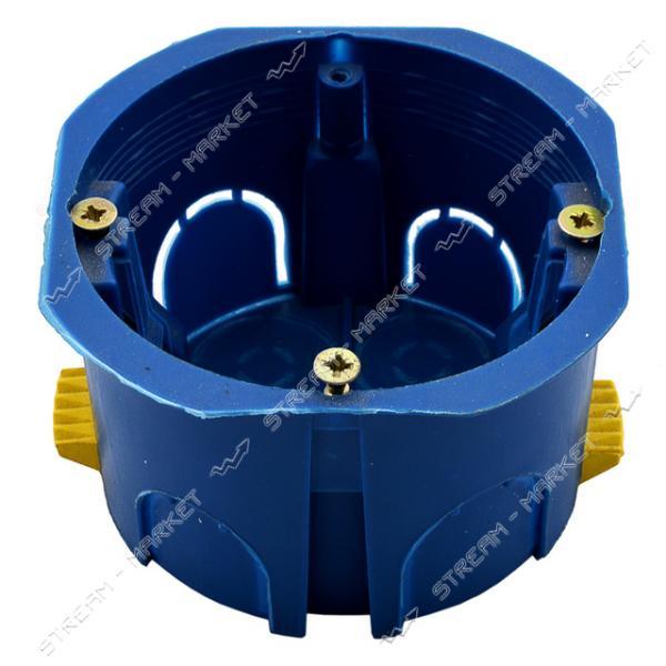 Коробка монтажная 68*40 в гипс (синяя) стыковочная под клин (в компл.) пласт.ножка ( КРАТНО 100 шт)