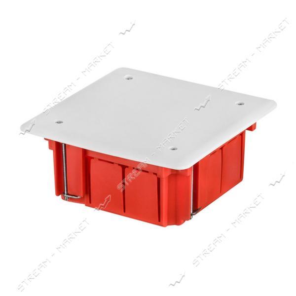 Коробка распред. встраиваимая (оранжкрасное.дно-бел.крышка) 92*92*45 (только КРАТНО 10шт)