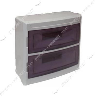 Щиток на 24 автомата DE-PA 91024 (2-х уровневый) со стеклом наружнный (белый) Турция