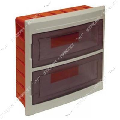 Щиток на 24 автомата DE-PA 91124 (2-х уровневый) со стеклом внутренний (белый) Турция