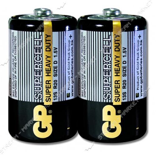 Батарейка GP Supercell солевая D/R20 ('большой бочонок') (уп.2 шт. цена за уп.)