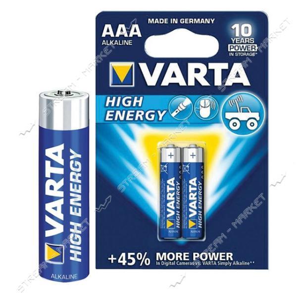 Батарейка Varta High Energy щелочная AAA/LR03 ('микропальчик') (уп.4 шт. цена за уп.) блистер