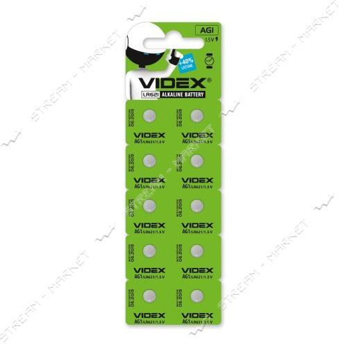 Батарейка Videx (часовая) щелочная AG1/LR621 (на блистере 10 шт.цена блистер) круглая