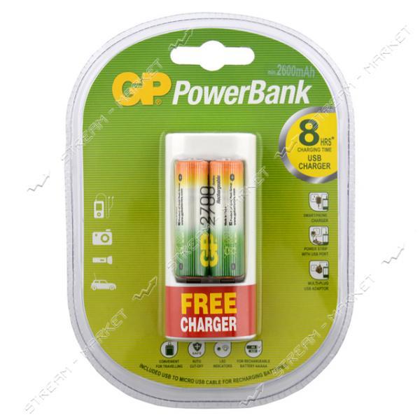 Зарядное устройство GP PowerBank U211 c USB 2 HR6 2700mah