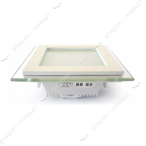 Cветильник LED Down Light 6W квадр 3000К врезной