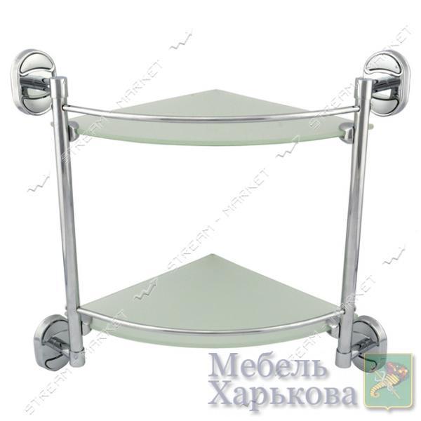 Zerix Полка угловая стеклянная двухъярусная Z1607-2 - Полки и этажерки для ванных комнат в Харькове