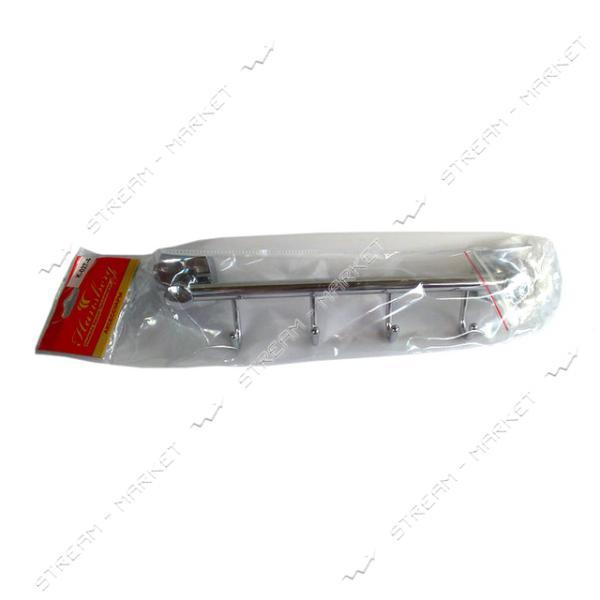 Планка с крючками на 4 рожка для ванной комнаты К-027-4