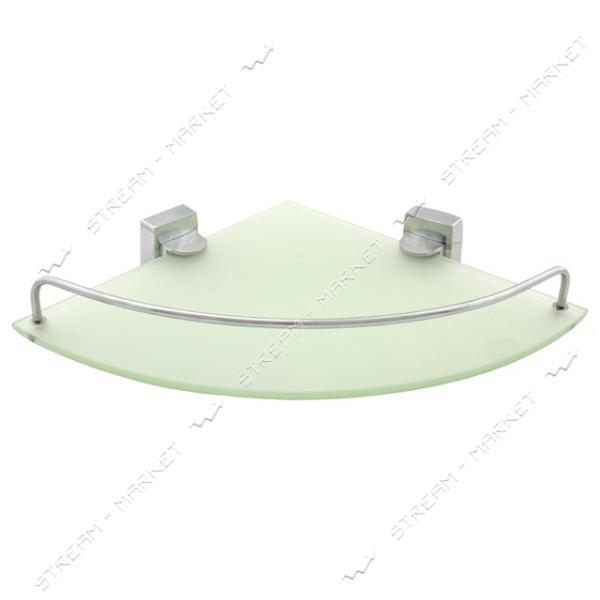 Полочка угловая с бортиками для ванной комнаты К-035 (стекло)
