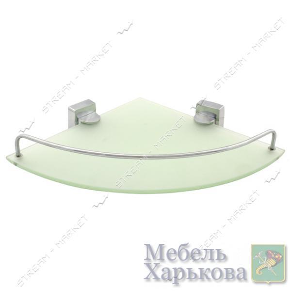 Полочка угловая с бортиками для ванной комнаты К-035 (стекло) - Полки и этажерки для ванных комнат в Харькове