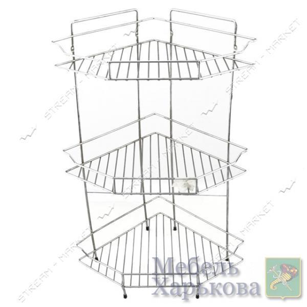 Полка угловая тройная (металл) (А-12) - Полки и этажерки для ванных комнат в Харькове