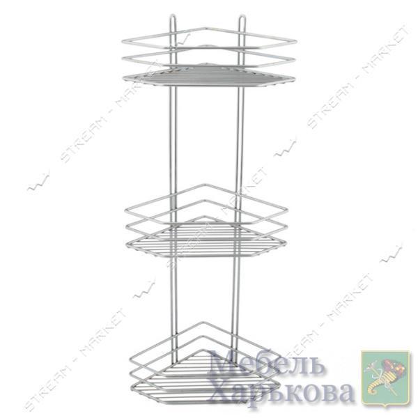 Полка угловая тройная (нержавейка) (А-127) - Полки и этажерки для ванных комнат в Харькове