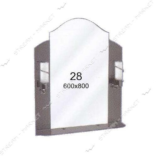 Двойное зеркало (ф-28) (600*800мм, 1 полка) с двумя отверстиями под светильники (без светильников)