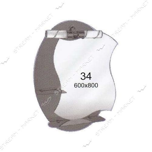Двойное зеркало (ф-34) (600*800мм, 2 полки) с одним отверстием под светильник (без светильника)