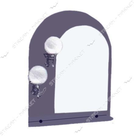 Двойное зеркало (ф-4) (600*800мм, 1 полка) с двумя отверстиями под светильники (без светильников)
