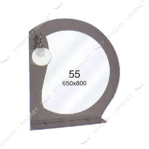 Двойное зеркало (ф-55) (650*800мм, 1 полка) с одним отверстием под светильник (без светильника)