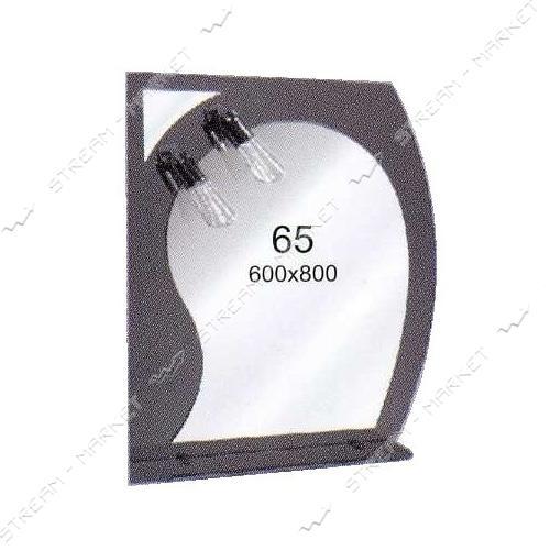 Двойное зеркало (ф-65) (600*800мм, 1 полка) с двумя отверстиями под светильники (без светильников)