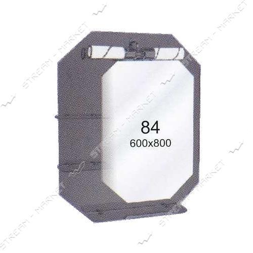 Двойное зеркало (ф-84) (600*800мм, 3 полки) с одним отверстием под светильник (без светильника)
