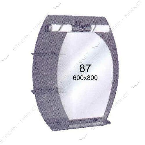 Двойное зеркало (ф-87) (600*800мм, 3 полки) с одним отверстием под светильник (без светильника)
