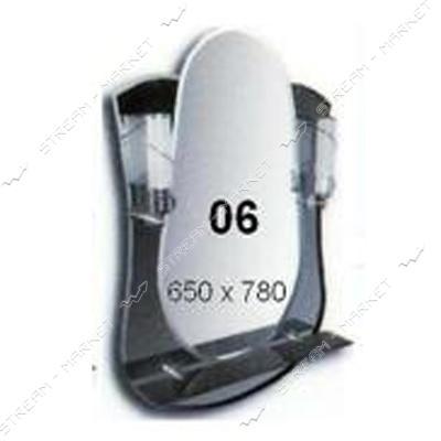 Фацет зеркало - (06) (650*780мм, 1 полка) с двумя отверстиями под светильники (без светильников)