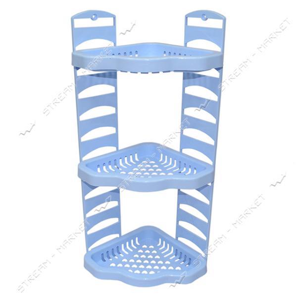 Угловая полка в ванную Агро голубая