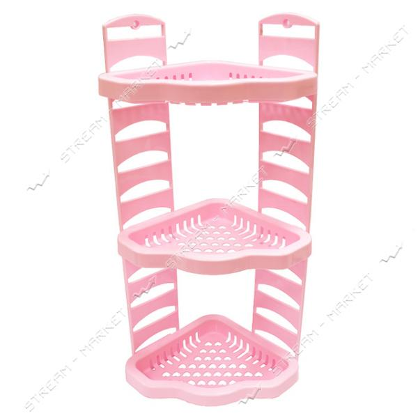 Угловая полка в ванную Агро розовая