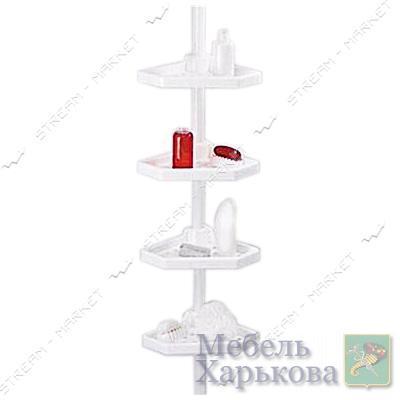 Угловая полка в ванную N-01-01 Prima Nova с металлической трубкой белая Турция - Полки и этажерки для ванных комнат в Харькове
