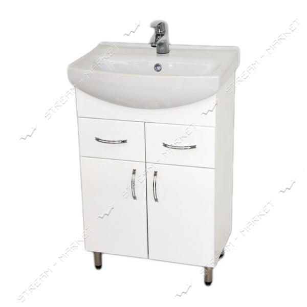 Тумба для ванной комнаты белая Церсания 55/2 умывальник Церсания 55