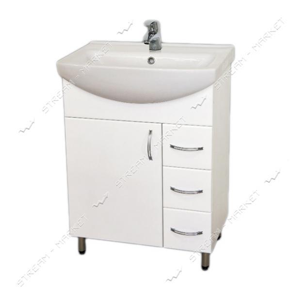 Тумба для ванной комнаты белая Церсания 60/3 умывальник Церсания 60