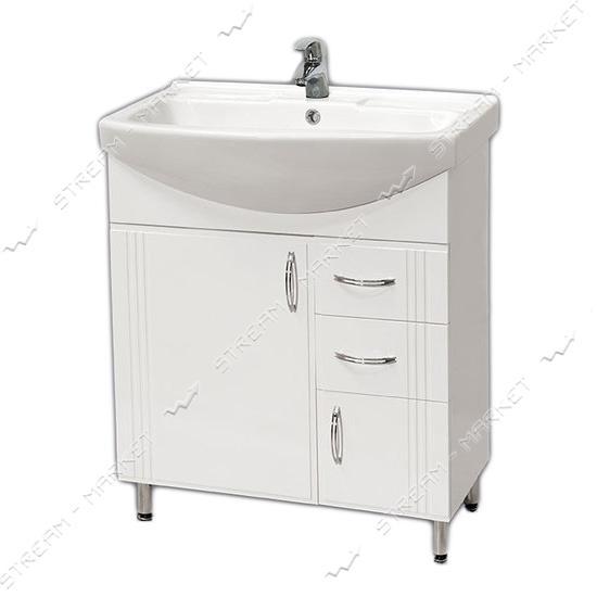 Тумба для ванной комнаты белая Изео Ади 70/2 умывальник Изео 70