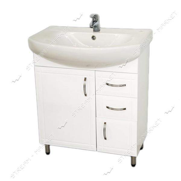 Тумба для ванной комнаты белая Лотос 70/2 умывальник Лотос 70