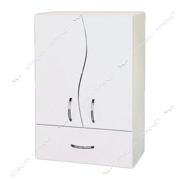 Шкаф для ванной комнаты белый навесной 50 Волна