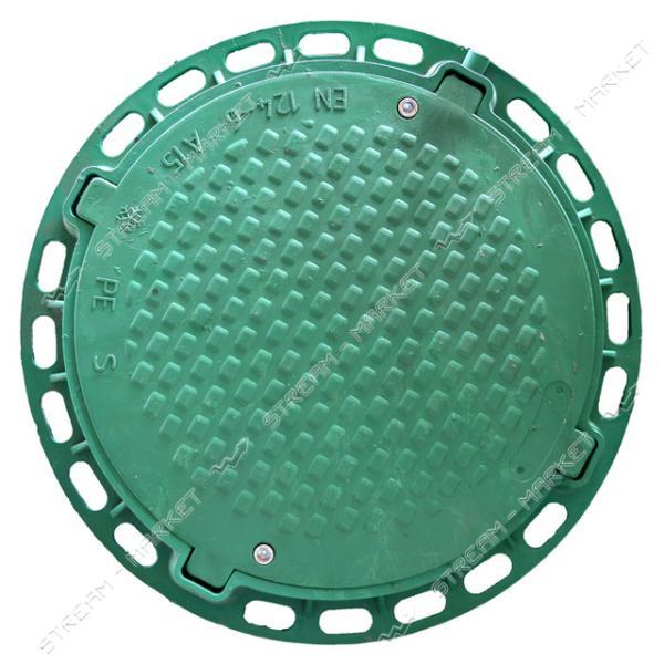 Люк ' Акведук' полимерный зеленый 6т б/з ( вн/нар. 600/750)