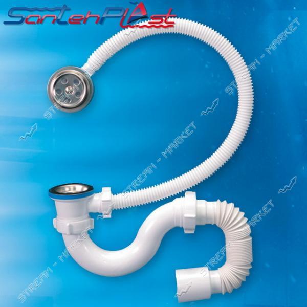 STP SV-02 Сифон для ванны с нержавеющим выпуском с переливом