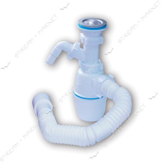 Waterstel А-40059 Сифон для умывальника и мойки стиралка с нерж. выпуском, гибкой трубой 1 1/2'х40/50