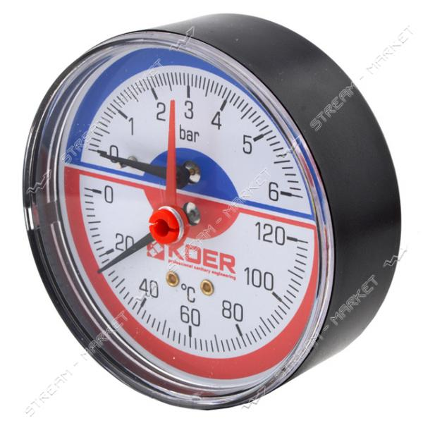 Термоманометр горизонтальный KOER 1/2' 10.0 бар 120°С КМ.812А