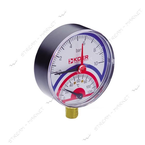 Термоманометр вертикальный KOER 1/2' 10.0 бар 120°С КМ.821R