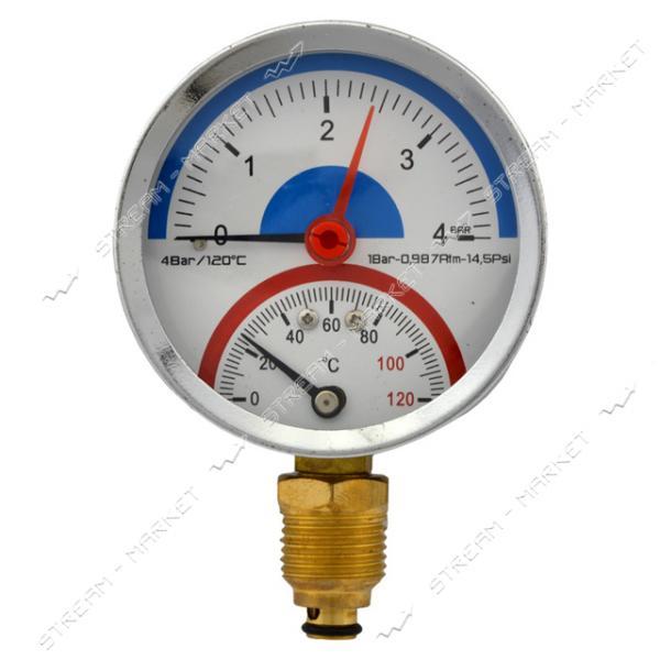 Термоманометр вертикальный 1/2' 4.0 бар 120°С