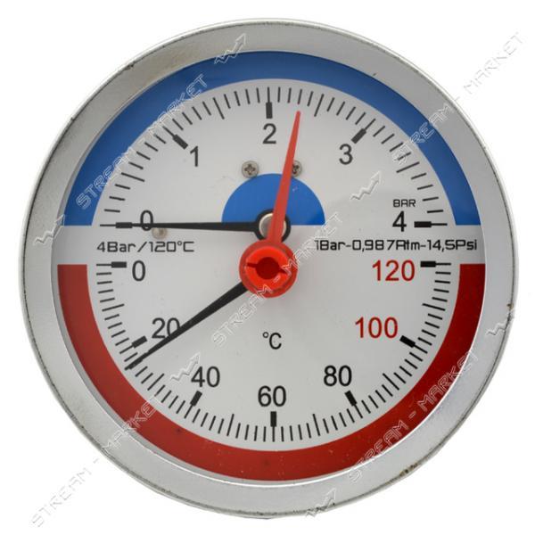 Термоманометр горизонтальный 1/2' 4.0 бар 120°С