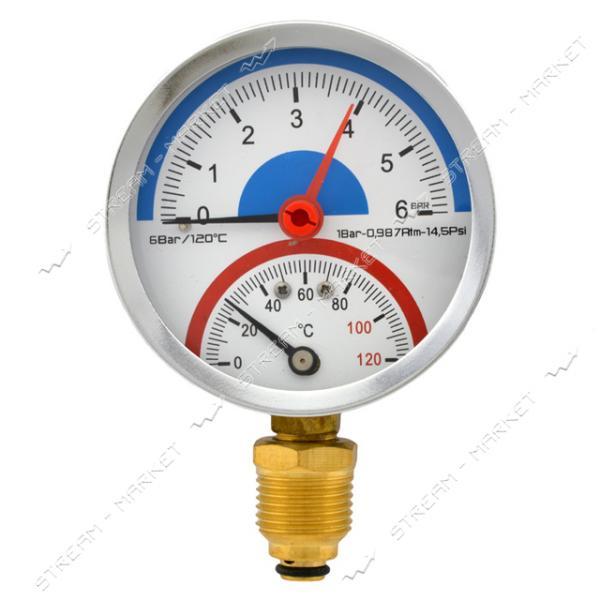 Термоманометр вертикальный 1/2' 6.0 бар 120°С