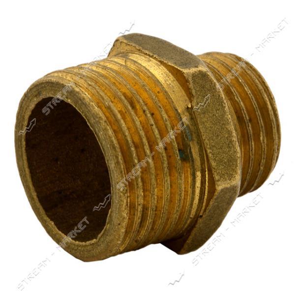 Нипель латунь 1/4'Н-3/8Н под манометр (Верхнеднепровск)