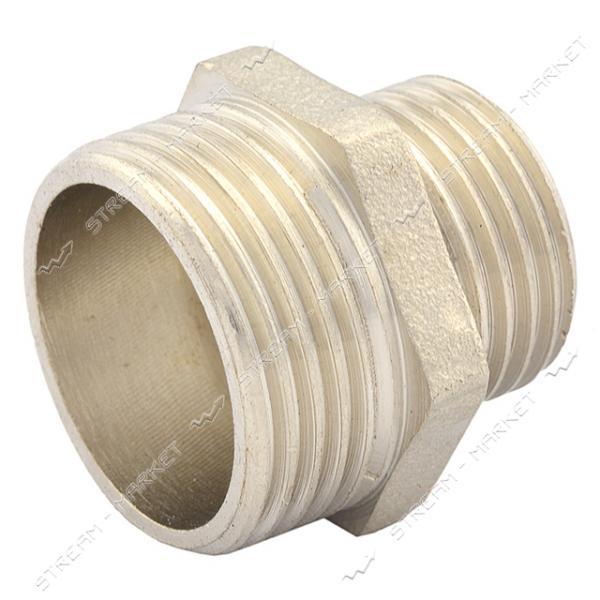 Ниппель латунный 3/4'Нх1'Н RS Премиум никелированный