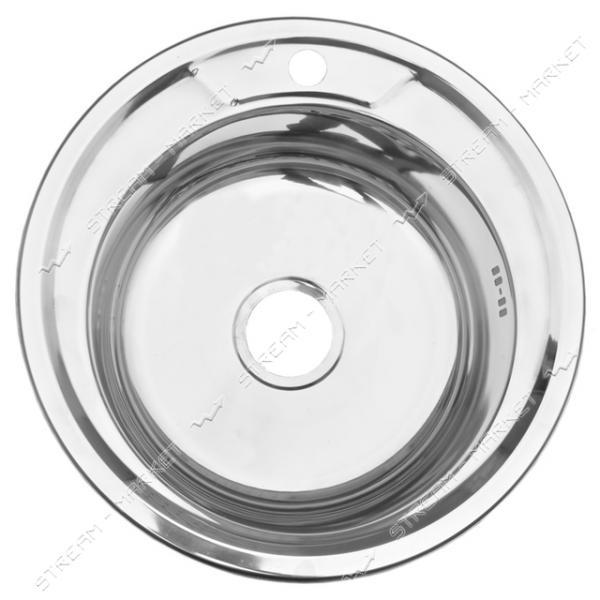 Мойка врезная d 49 глянец (большой сифон, гл.чаши 16-18 см, толщина 0, 6 мм)